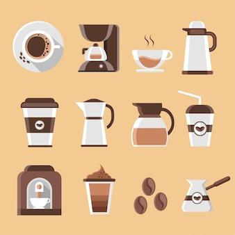 Satz flache kaffeeikonen und -elemente