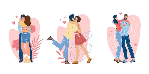 Satz flache karikaturart von liebhabern, die qualitätszeit zusammen genießen