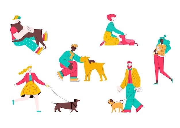 Satz flache karikaturillustration von hunden und besitzern