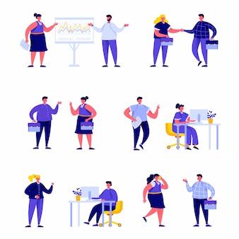 Satz flache leutebüroangestellte oder manager, die miteinander charaktere sprechen
