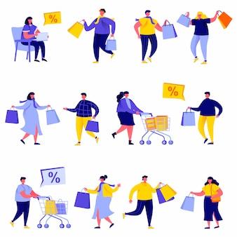 Satz flache leuteeinkaufstaschen und wagencharaktere