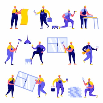 Satz flache leutehausreparatur-arbeitskraftcharaktere