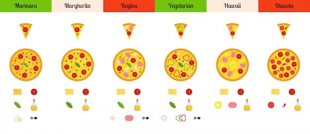 Satz flache pizza und bestandteile lokalisiert auf weißem hintergrund