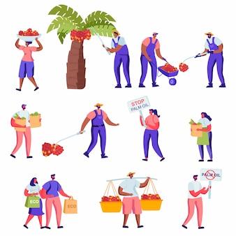 Satz flache proteste gegen die palmölherstellung, die charaktere produzieren