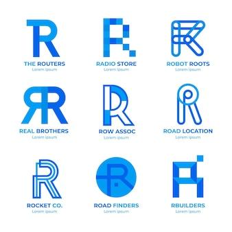 Satz flache r logo-vorlagen
