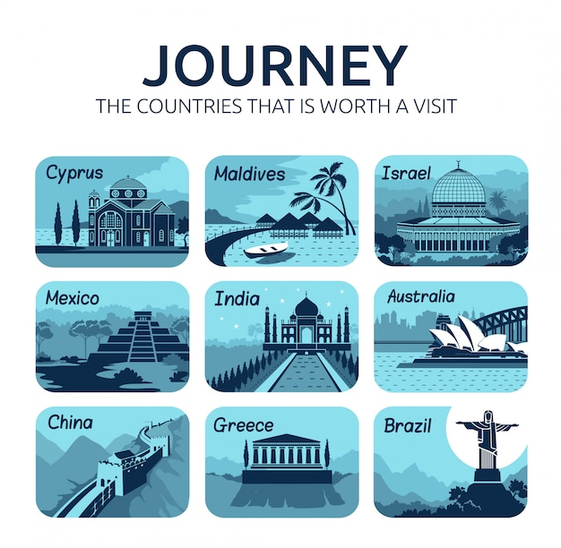 Satz flache reisesymbole mit verschiedenen ländern.
