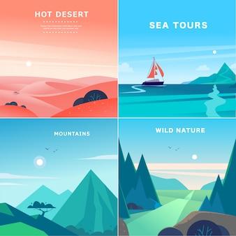 Satz flache sommerlandschaftsillustrationen mit wüste, ozean, bergen, sonne, wald auf blauem bewölktem himmel. naturblick.