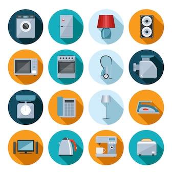 Satz flache symbole der haushaltsgeräte auf bunten runden netzknöpfen mit einer waschmaschine