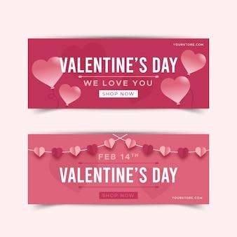 Satz flache valentinstagfahnen