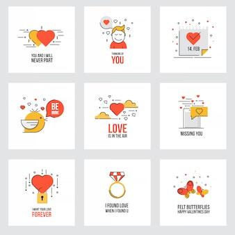 Satz flache valentinstagkarten
