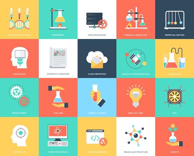 Satz flache vektor-ikonen der wissenschaft und der technologie