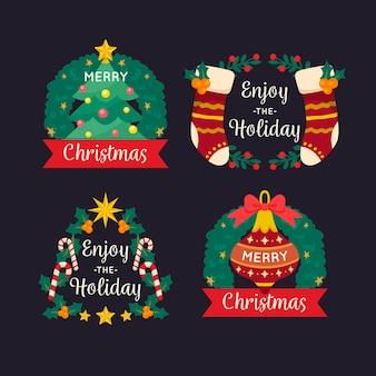 Satz flache weihnachtsabzeichen