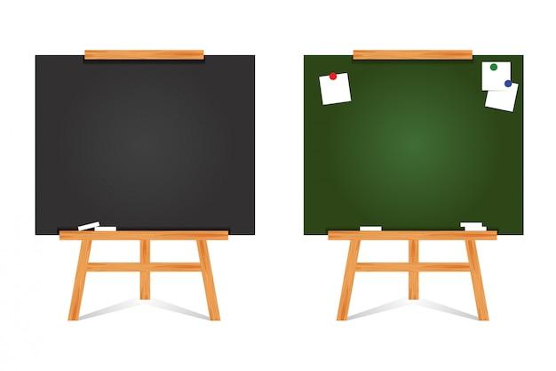 Satz flacher design-tafelhintergrund und holzrahmen. leere saubere grüne tafel. moderne staffelei lokalisiert auf weißem hintergrund. illustration.