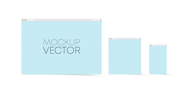 Satz flacher leerer browserfenster für verschiedene geräte. desktop-computer, laptop, tablet, telefongrößen. illustration