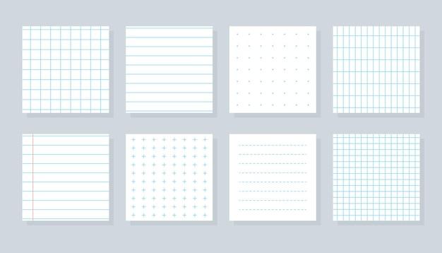 Satz flacher, unterschiedlicher papierbogen, karierte vorlagen, karierte oder linienblatt-copybook-deckblatt mit blau liniertem kreuz, gepunktet und gittermuster schulnotizbuchpapier isolierte vektorillustration