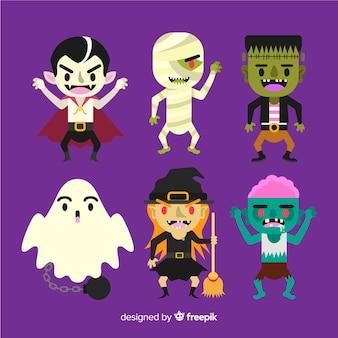 Satz flaches design der halloween-charaktere
