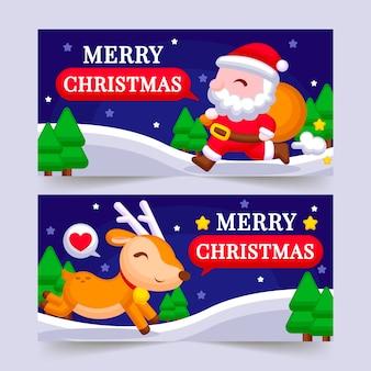 Satz flaches design der weihnachtsfahnen