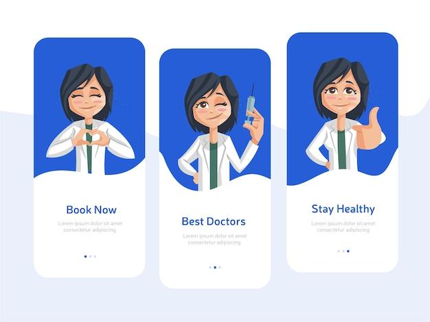 Satz flaches design des begrüßungsbildschirms für mobile apps