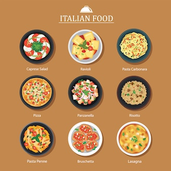 Satz flaches design des italienischen essens.