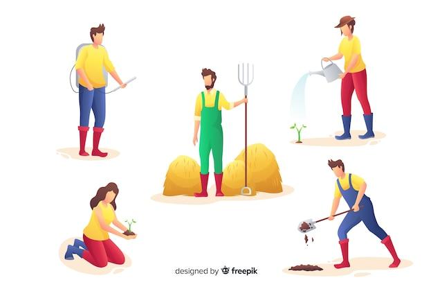 Satz flaches design des landarbeiters