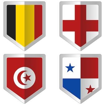 Satz flagge für weltcup-fußball