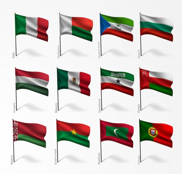 Satz flaggen aller länder in abbildung