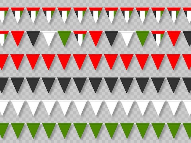 Satz flaggen der vereinigten arabischen emirate in traditionellen farben.