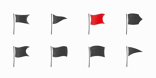 Satz flaggen mit gepunkteten schattensymbolen