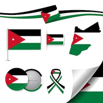 Satz flaggenelemente mit jordanien