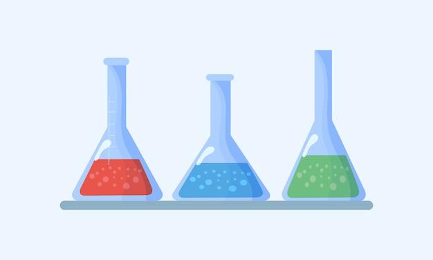 Satz flaschen. kolben mit chemischen flüssigkeiten. chemische laborbiologie von wissenschaft und technologie. biologie naturwissenschaftliche ausbildung das studium virus, molekül, atom, dna über mikroskop, lupe, teleskop.