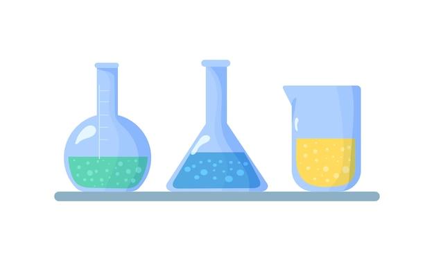 Satz flaschen. kolben mit chemischen flüssigkeiten. chemische laborbiologie von wissenschaft und technologie. biologie wissenschaft ausbildung die studie virus, molekül, atom, dna.