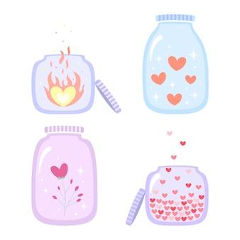 Satz flaschen mit hellen liebestränken und brennendem herzen im flachen stil für valentinstag lokalisiert auf weißem hintergrund.