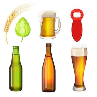 Satz flaschen und gläser mit bierkunstikone lokalisiert