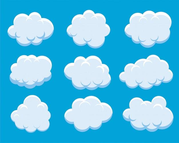 Satz flauschige wolken