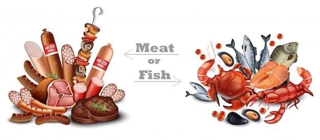 Satz fleisch und meeresfrüchte