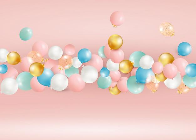 Satz fliegende bunte luftballons. feiern sie einen geburtstag, poster, banner alles gute zum jubiläum. realistische dekorative gestaltungselemente.