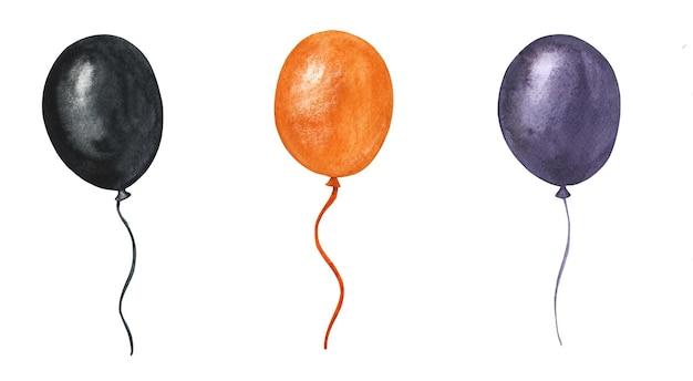 Satz fliegende luftballons des aquarells der farben schwarz, lila und orange.