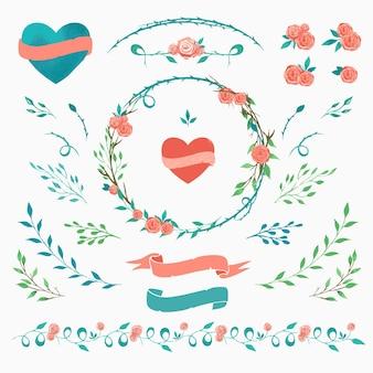 Satz florale elemente für valentinstag-design-vektor-aquarell-blumenelemente