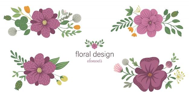 Satz florale horizontale dekorative elemente. flache trendige illustration mit blumen, blättern, zweigen.