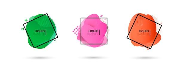 Satz flüssige farbzusammenfassungs-geometrische formen