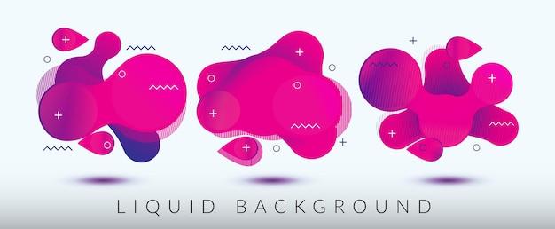 Satz flüssiger hintergrund mit abstrakter dinamic flow-wellen-designillustration
