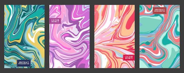 Satz flüssiger marmor oder abstrakter heller hintergründe des epoxids. zeitgenössische trendige drucke mit marmorplatten- oder scheibenstruktur für cover-designs, hochzeitseinladungen, etuis, geschenkpapier, grußkarten.
