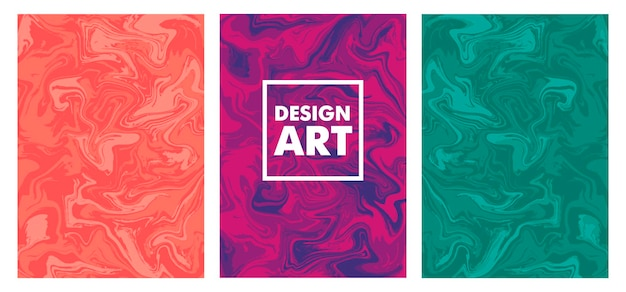 Satz flüssiges marmorbeschaffenheitsdesign, bunte marmoroberfläche, lebendiges abstraktes farbdesign, vektorillustration.