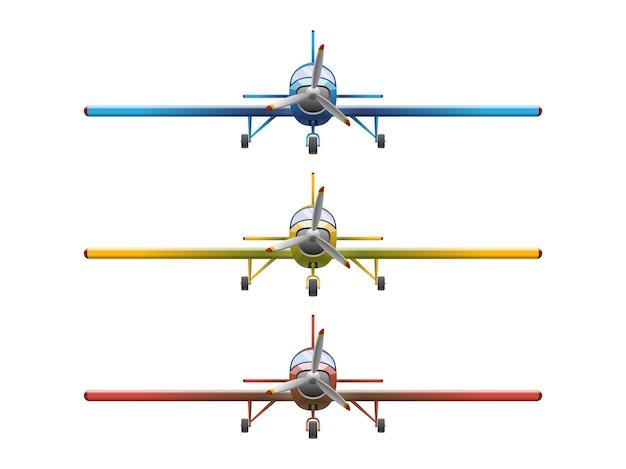Satz flugzeug im karikaturstil auf weißem hintergrund. landwirtschaftliches propellerflugzeug, illustration