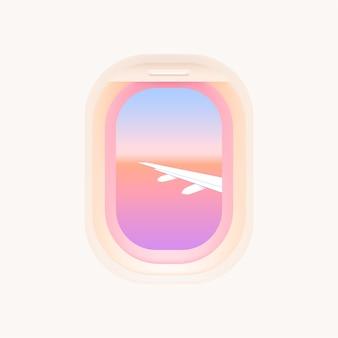 Satz flugzeugfenster. bullaugen des flugzeugs. innenraum des flugzeugs mit flugzeugflügel und sonnenuntergangansicht vom fenster.