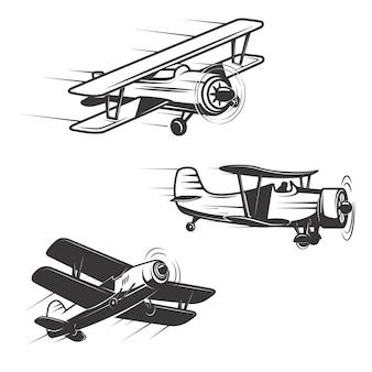 Satz flugzeugsymbole auf weißem hintergrund. elemente für logo, etikett, emblem, zeichen.