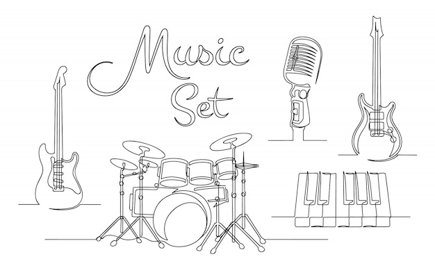 Satz fortlaufender einzeiliger zeichnung von musikinstrumenten