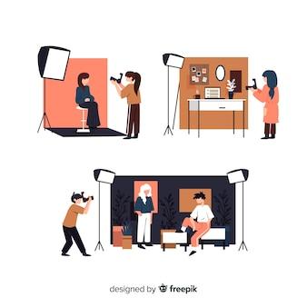 Satz fotografen, welche die verschiedenen schüsse veranschaulicht machen