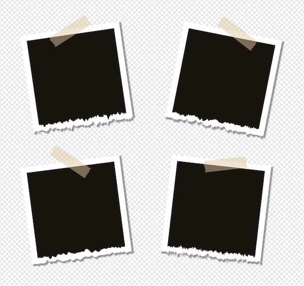 Satz fotorahmenentwurf auf klebeband lokalisiert auf transparentem hintergrund