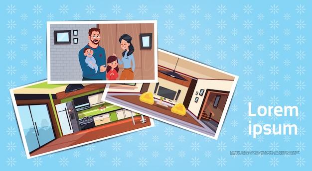 Satz fotos der jungen familie im neuen haus im wohnzimmer und im küchen-kaufenden haus-konzept